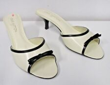 LOUIS VUITTON Magic Mules Bicolor Ivory Slides with Black Trim and Bow - Size 40