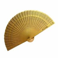 Vintage Spray-painted Wood Hollow Carved Hand Fan Foldable Fan - Gold O2A6 H2R4