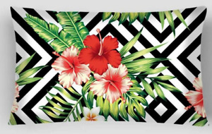Amaryllis Outdoor Indoor Tropical Flower Palm Leaf Lumbar Retro Cushion Cover