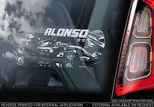 Fernando Alonso-Voiture Fenêtre Autocollant-F1 champion de Formule 1 Autocollant Signe Art-V03