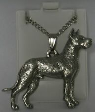 Great Dane Cropped Ears Dog Harris Fine Pewter Pendant w Chain Necklace USA Made