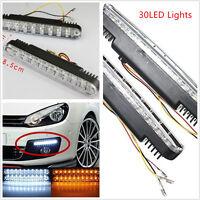 2x30 LED Car White DRL & Amber Turn Signal Daytime Running Daylight Universal