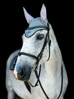 Equestrian Stockholm Crystal Grey Ear Bonnet