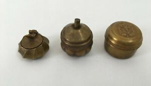 3 Pic Old Brass Handcrafted Different Small Powder / Pill Boxes collectible