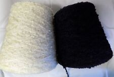 ACRYLIC CHENILLE 1000 YPP DK/ LIGHT WORSTED CONE YARN 1 LB BLACK OR IVORY (A13)