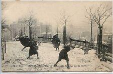 CP 75 Paris - Montmartre - La bataille de neige sur la Butte
