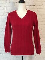 Talbot Womens Sweater Size Small Petite Red Long Sleeve V-neck Cable Knit