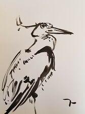 JOSE TRUJILLO - ORIGINAL CRANE MARSH ABSTRACT EXPRESSIONISM INK WASH 18X24 B2