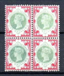 GB QV SG214 1/- Green and Carmine Block of Four Fine Unmounted Mint