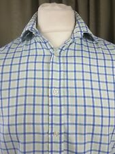 "Thomas Pink 100% Cotton Green Blue Check Double Cuff Shirt 15.5"" 39cm C40"