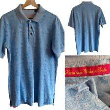 🌟Robert Graham Size L Blue Paisley Cotton Short Sleeve Polo Shirt Mens