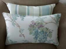 Laura Ashley Wisteria Pistachio Green/Duck Egg &Stripe Fabric Cushion Cover