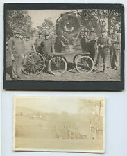 MISC LOT OF 5 PHOTOS, MILITARY MEN   CART/MACHINE, HOUSE, LADIES, BRIDGE