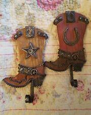 "Set of 2 - Cowboy Boot Design Wall Hooks -  7"" High Polystone"