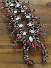 Vintage Navajo Coral and Mother of Pearl Sterling Silver Squash Blossom Necklace