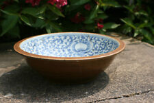 Antique Chinese Porcelain Brown with Blue & White Painted Large Bowl