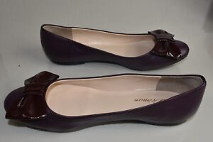 NEW in Box Delman Wave Up Flats Leather Bow Patent Burgundy Plum Shoes 9
