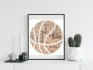 Personalised A4 Word Art Basketball Ball Sports Gift Photo Picture Print Image