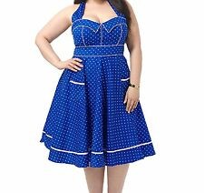 HELL BUNNY Vanda dress 4X Blue Dot