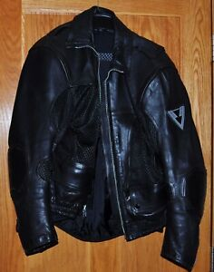 Men's Vent Tech Black Vented Leather Motorcycle Jacket Size 40