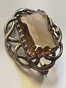 Vintage 1967 sterling silver & smoky quartz Celtic scroll brooch pin hallmarked