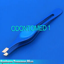 "New 3.5"" Eyebrow Tweezers Slant Precision Tips Blue Finger Pad Design"