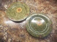 Pair of Certified International Susan Winget Savannah Green Dinner Plate