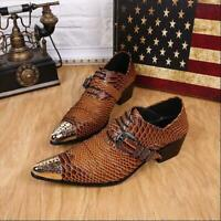 2019 Fashion Mens Snake Skin Pointed Metal Buckle Dress Formal Cuban Hees Shoes