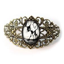 Gothic Black Kitty Cat Antique Bronze Glass Halloween Filigree Cuff Bracelet New