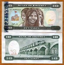 Eritrea, 10 Nakfa, 1997,  P-3, First currency, UNC > Children