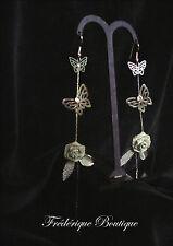 Boucles d'Oreilles PAPILLONS et FLEURS couleur Argent Longues et Pendantes