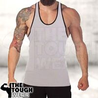 Gym Singlets - Men's Tank Top Bodybuilding and Fitness - Stringer Gray/Black