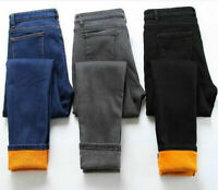 Women Fur Lined Denim Jeans Stretch Trousers Winter Warm Leggings Thick Pants