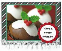 6 CHRISTMAS Holiday Greeting Cards - Cupcake Sweet Holiday - Handmade Recycle
