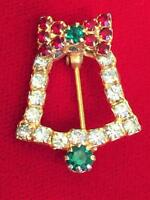 Vintage 1970's Gold Tone & Rhinestone Christmas Bell Brooch Pin