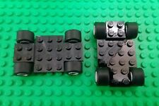 *NEW* Lego Black Car Chassis Wheels Grey Rims Black Tyres Racing - 2 Cars
