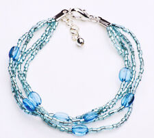 TURQUOISE FOUR STRAND MIXED BEAD BRACELET WITH EXTENDABLE METAL CLASP(ZX28)