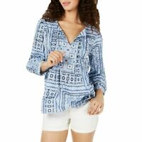 TOMMY HILFIGER Women's Navy Pleated Patchwork Print Casual Shirt Top XXL TEDO