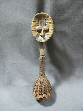 "African Kota / Bakota Gabon wood metal wicker & fiber Ceremonial Rattle 12"" tall"