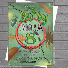 Personalised Bugs Creepy Crawlie Kids Birthday Party Invitations x 12+envs H0059