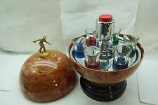 VINTAGE BOWLING BALL DECANTER 6 GLASSES SET 1950s MID CENTURY LIQUOR BARWARE