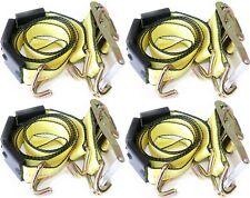 "(4 Pack) 2""x10' Tire Double J Wire Hook Strap Ratchet Car Hauler Wheel Tie Down"