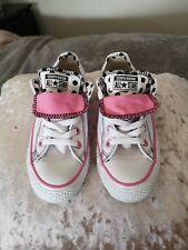 Converse all star low double tongue, white, pink & polka dot, size 4