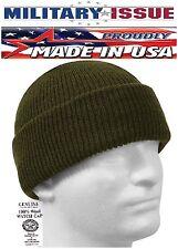 OD Green Military Issue Watch Cap 100% Wool Skiing Beanie Wool Watch Cap 5437