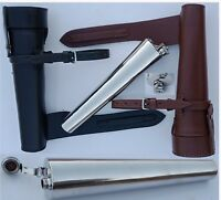 SADDLE HIP FLASK STEEL & THICK COW LEATHER CASE BATON FOX HUNTING FREE P&P