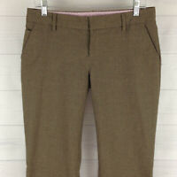 GAP Hip Slung Womens Sz 4 Stretch Striped Taupe Brown Low Flap Flare Career Pant