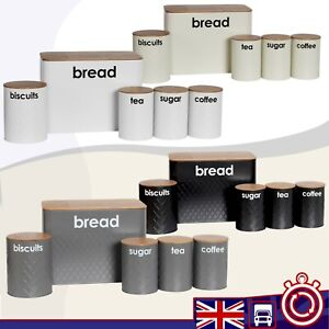 5pc Bread Bin Cannister Set in 4 Colors Kitchen Loaf Storage Airtight Lid Bamboo