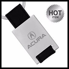 ACURA LEATHER Chrome Ring Tag Fob Holder Key Chain - TL Integra ILX TLX RDX MDX