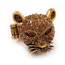 Citrino Diamante 'Leopardo' estiramiento anillo en quemar Chapado en Oro - 7/9 Tamaño