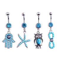 Fashion Dangle Body Piercing Jewelry Navel Belly Ring Rhinestone Button Barbell